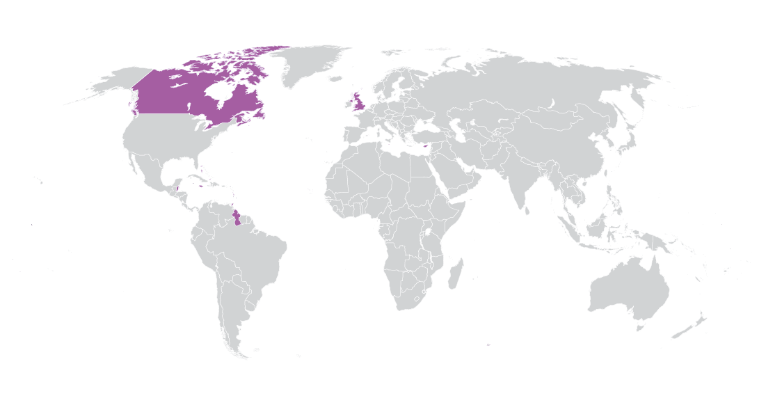 Americas, Caribbean and Europe map