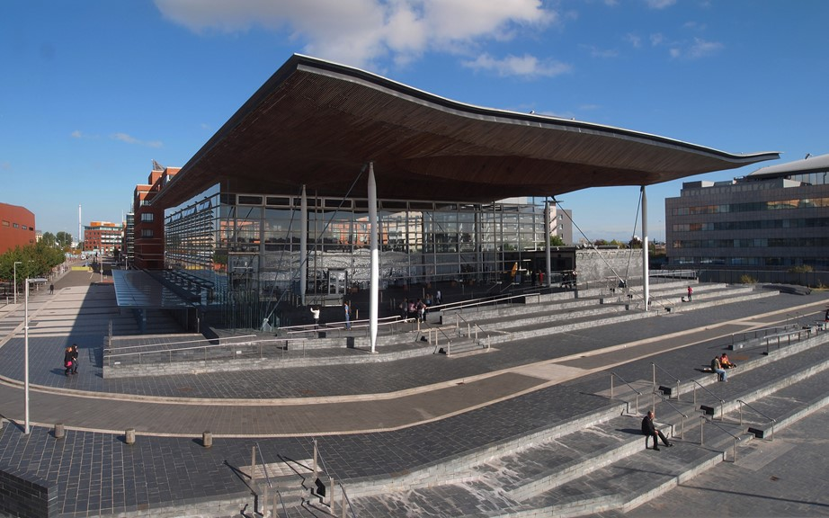 The Senedd, the main public building of the National Assembly for Wales