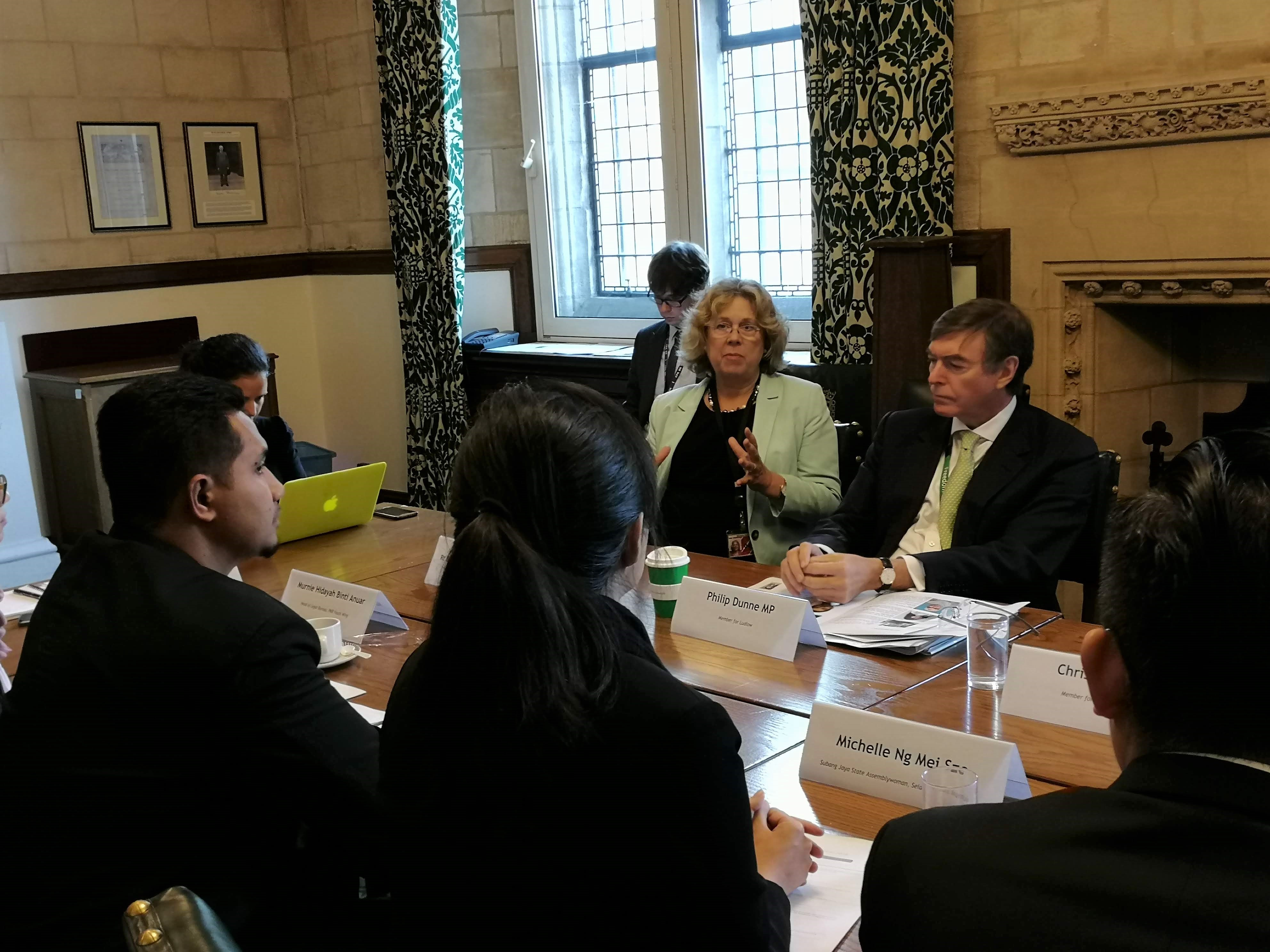 The Rt Hon. the Baroness Northover and Philip Dunne MP in conversation with the delegation