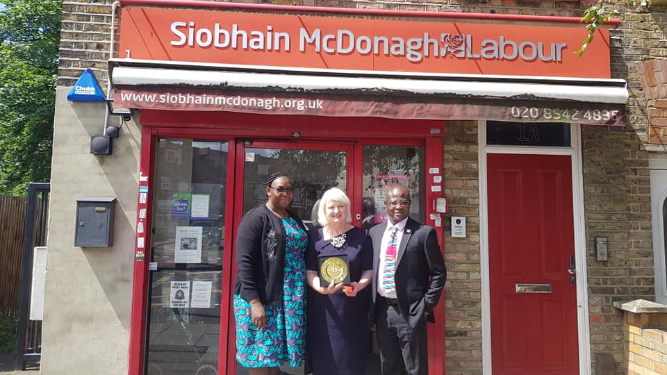 The delegation visits the constituency office of Siobhain Mcdonagh MP