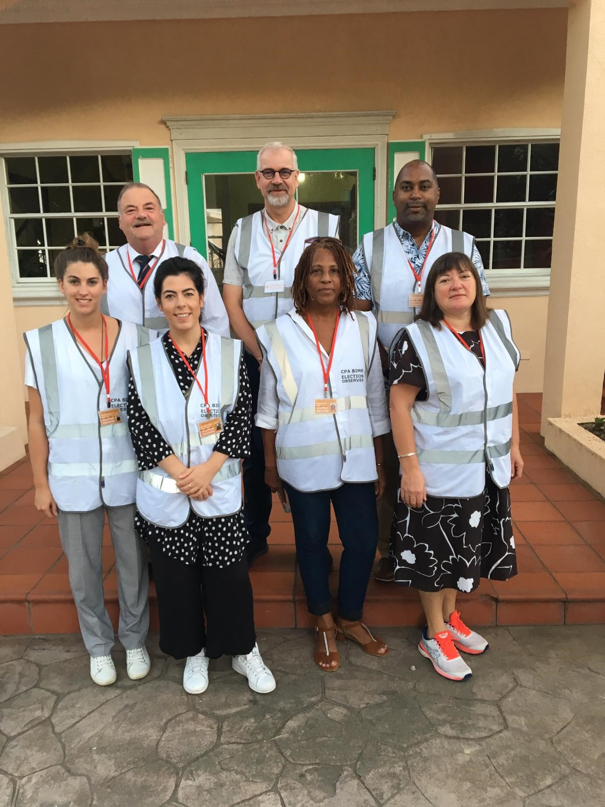 The international observers (from back left clockwise) Martyn Perkins MHK, Isle of Man; Harald Jepsen, Denmark; Hon Julian Robinson MP, Jamaica, Head of Mission; Anne Marlborough, Ireland; Aurjul Wilson, Anguilla; Mariam El-Azm, France; Felicity Newall, UK