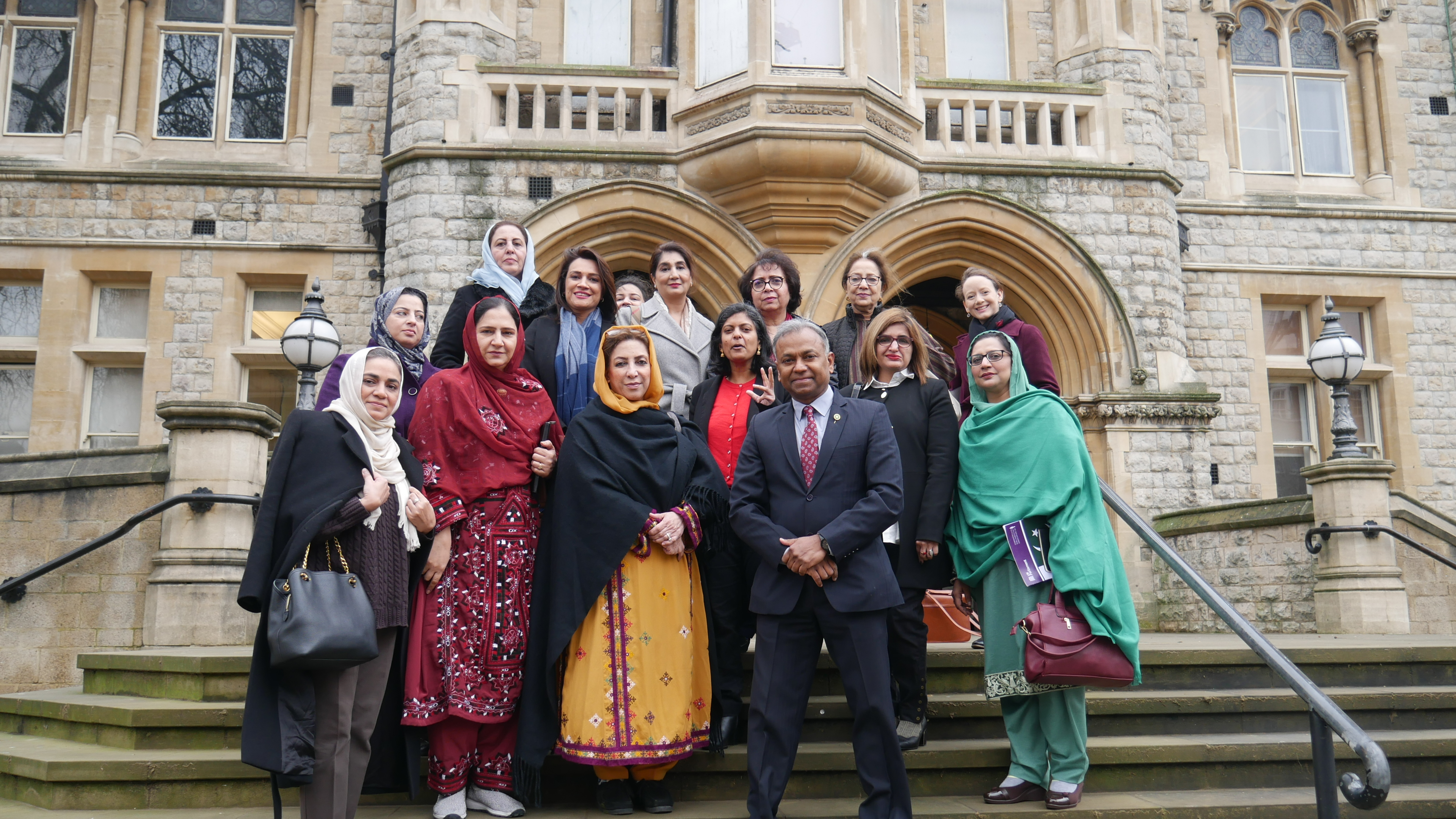 Dr Rupa Huq MP and Councillor Tariq Mahmood joined the delegation outside Ealing's historic Town Hall