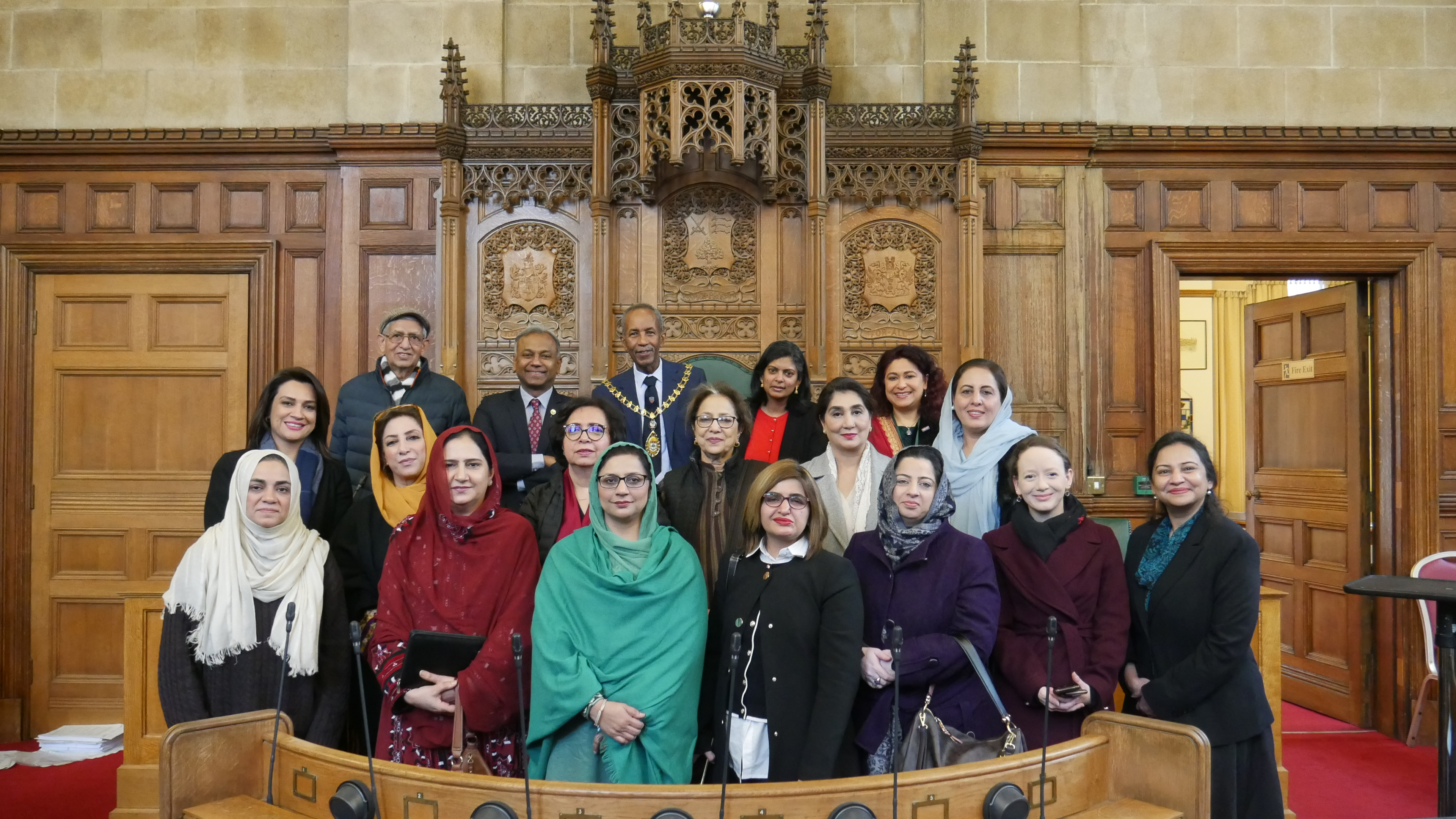 Dr Rupa Huq MP, Ealing Mayor Councillor Dr Abdullah Gulaid, Ealing Council Leader Julian Bell, Councillors Dr Aysha Raza and Tariq Mahmood hosted the delegation at Ealing Town Hall