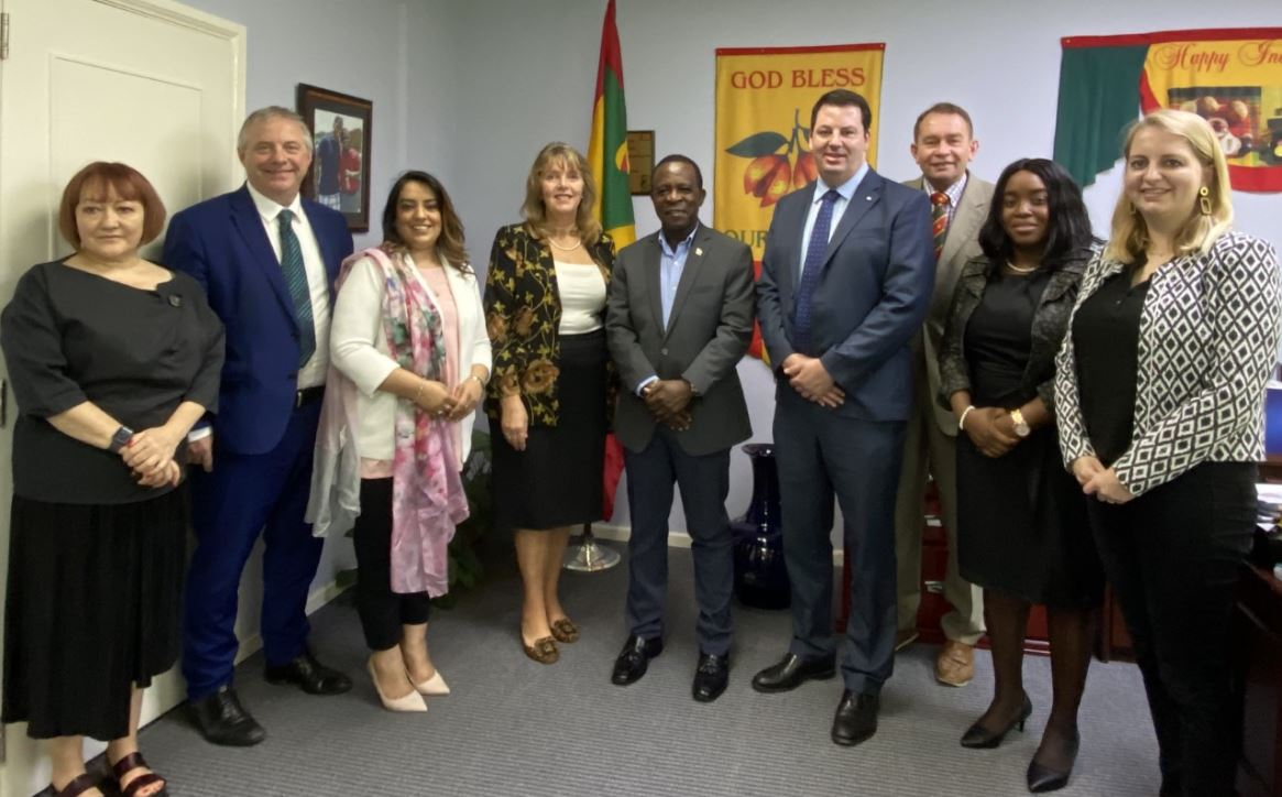 The delegation met with the Prime Minister of Grenada, Dr. the Right Hon. Keith Mitchell, accompanied by the new Resident British Commissioner, Wendy Freeman