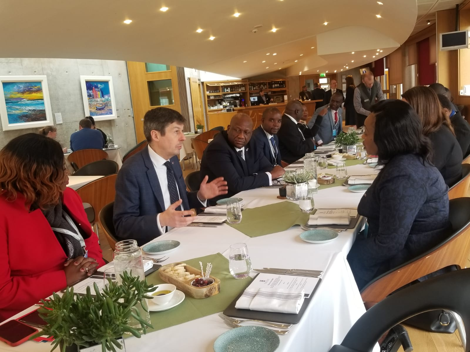 Delegates joined the Speaker of Malawi, Catherine Gotani Hara and Ken Macintosh, Presiding Officer of the Scottish Parliament for a working lunch