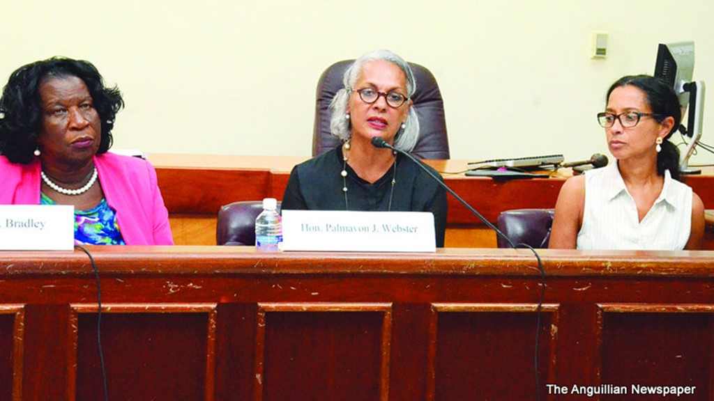 Dr Anna Dickson (pictured on the right) assists the PAC Inquiry into Social Security. Image from The Anguillian.